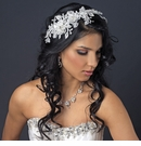 Ivory Lace Flexible Bridal Hair Applique Accented with Rhinestones, Crystals & Sequence