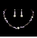 Light Amethyst Pearl & Swarovski Crystal Necklace Set