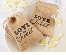 """Love is Sweet"" Burlap Drawstring Favor Bag (Quanity of 12)"