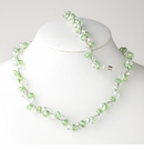 Peridot Silver Clear Necklace Bracelet Set