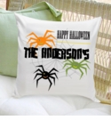 Personalized Spiders Halloween Throw Pillow