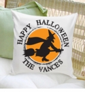 Personalized Witch Halloween Throw Pillow