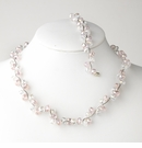 Pink Silver Clear Necklace Bracelet Set