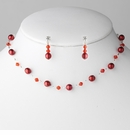 Red Pearl Necklace & Earrings