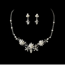 Rhinestone & White Pearl Flower Necklace & Earring Set