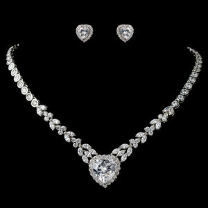 Rhodium Clear Marquise & Heart CZ Jewelry Set