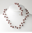 Ruby Silver Clear Necklace Bracelet Set