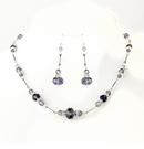 Silver Amethyst Crystal & Clear Rhinestone Necklace Set
