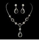Silver Clear & Black Stone Necklace & Earrings