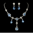 Silver Clear & Light Blue Necklace & Earrings