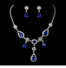 Silver Clear & Multi Blue Stone Necklace & Earrings