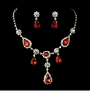Silver Clear & Red Necklace & Earrings