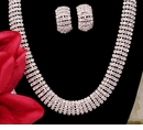 Silver Clear Rhinestone Choker Necklace & Clip On Earring Set