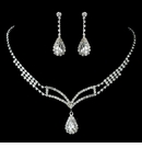 Silver Clear Rhinestone Necklace & Earrings Set
