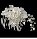Silver Diamond White Floral Comb with Freshwater Pearls & Rhinestones