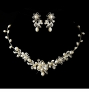 Silver Freshwater Pearl & Rhinestone Necklace & Earrings Jewelry Set