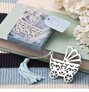 Silver Metal Baby Crib Bookmark with Blue Tassel