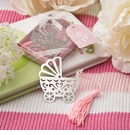 Silver Metal Baby Crib Bookmark with Pink Tassel