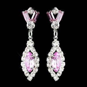 Silver Pink & Clear Marquise Baguette Round Rhinestone Drop Earrings