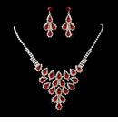 Silver & Red Necklace and Earring Set