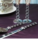 Silver Stacked Hearts Cake Serving Set