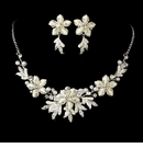 Silver White Snowflake Jewelry Set