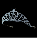 Sparkling Light Blue Covered Quincea�era Rhinestone Tiara in Silver