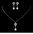 Teardrop & Round Rhinestone Necklace & Earrings