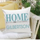 Where Our Story Begins Throw Pillow in Blue or Green