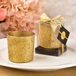 Bling Collection Gold Glitter Candle Votive Holder Favors