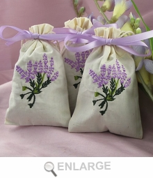 Embroidered Lavender Sachet Favors
