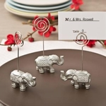 Good Luck Silver Indian Elephant Place Card Photo Holder Favors