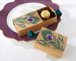 Jeweled Peacock Kraft Favor Boxes Set/24
