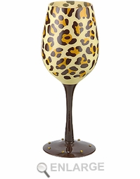 Leopard Bottoms Up Hand Painted Wine Glasses