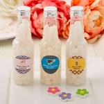 Personalized White Jelly Bean Candy Filled Bottles with Silver Top Party Favors