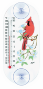 Cardinal and Dogwood Flowers Window Thermometer