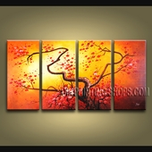 4 Pieces Contemporary Wall Art Floral Plum Blossom Artist Artworks