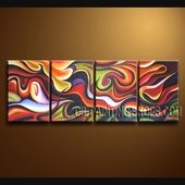 Hand Painted 4 Pieces Modern Abstract Painting Wall Art Artwork Images