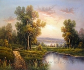 Beautiful Landscape Oil Painting Reproduction Sunset
