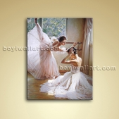 Canvas Oils Impressionist Painting Ballet Dancer White Skirt Gallery Wrapped