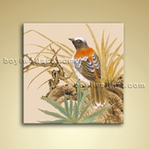 Classical Abstract Floral Bird Painting Oil Canvas Wall Art For Bedroom