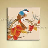 Classical Abstract Floral Bird Painting Oil Stretched Canvas Ready To Hang