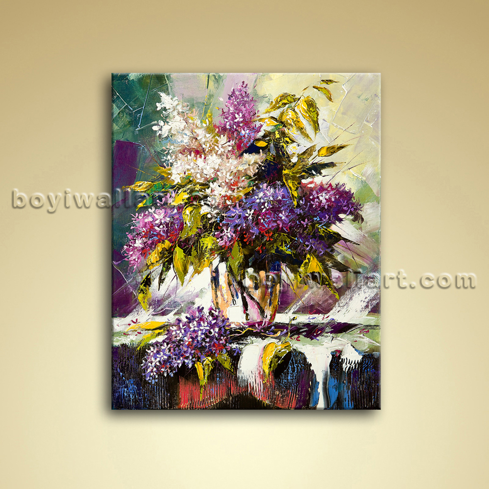 Abstract Still Life Flower Bouquet Painting Oil Canvas Wall Art