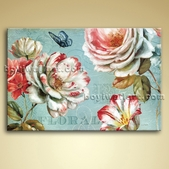 Contemporary Abstract Floral Painting Flower Picture Oil Canvas Wall Art