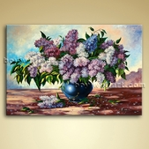 Contemporary Abstract Floral Painting Picture Oil On Canvas Wall Decor