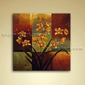 Contemporary Abstract Floral Painting Oil Canvas Wall Art Orchid Flower