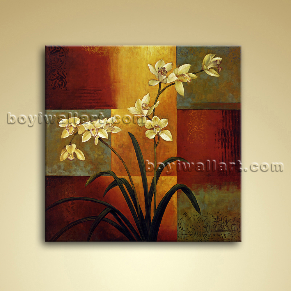 Abstract Floral Painting Oil Canvas Wall Art Orchid Flower