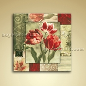 Contemporary Abstract Floral Painting Oil Canvas Wall Art Tulip Flower