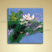 Contemporary Abstract Floral Painting Picture Oil Canvas Art Water Lily Flower