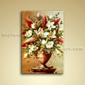 Contemporary Abstract Floral Still Life Flower Painting Oil Canvas Art